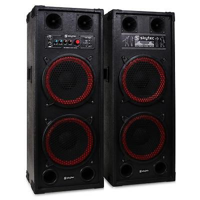 "Skytec Spb-210 Professional Dual Bass 10"" Pa Speakers Master / Slave Usb Sd Mp3"