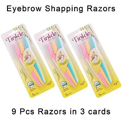 Pack of 9 Tinkle Eyebrow Razor Trimmer Shaper Shaver Hair Remover 3 Card sets