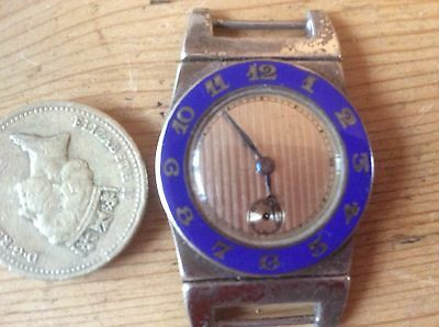 Vintage solid silver watch and blue enamel