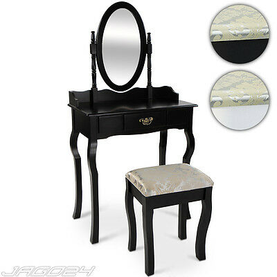 Vintage Dressing Table Make Up Desk Stool Large Drawer Swivel Mirror Set Dresser
