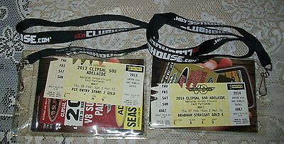 2 x V8 SUPERCARS CLIPSAL 500 2013/14 'CCA CLUBHOUSE' LANYARDS + PASSES