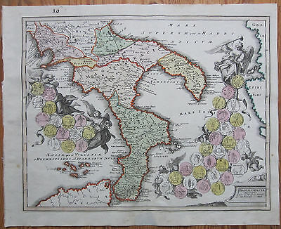 Koehler Decorative Handcolored Original Map of Southern Italy Calabria - 1720