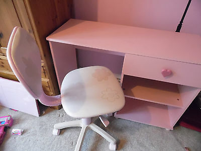 Girls Pink Desk and Chair