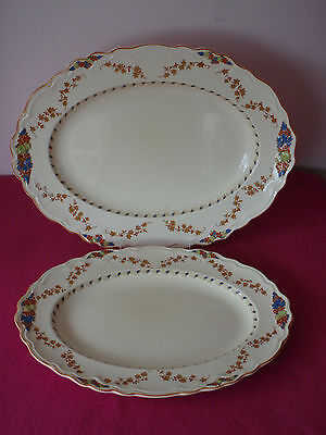 Vintage Crown Ducal / Old Hall Ware - 2 Oval Serving Platters / Christmas