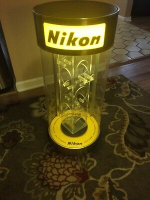Vintage Nikon Camera Counter Store Display Lights And Turns Advertisement