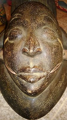 African Hand Carved Wood Mask Vintage Puna Tribal Mask From Africa