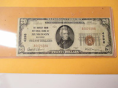 1929 $20.00 The Hackley Union National Bank Of Muskegon,michigan