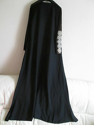 Womens Black Gold Diamante Abaya Jubbah Burkha Long Islamic Dress + Dupatta!