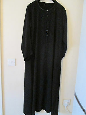 Womens Black Maxi Modest Diamante Abaya Jubbah Burkha Long Islamic Kameez Dress