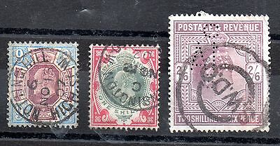 KEVII 1902-10 9d to 2s 6d used x 3 (2 good CDS) WS2630