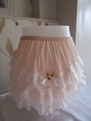Vtg Sissy Nylon Knickers Frilly Back Peach & Cream With Rose & Satin Bows