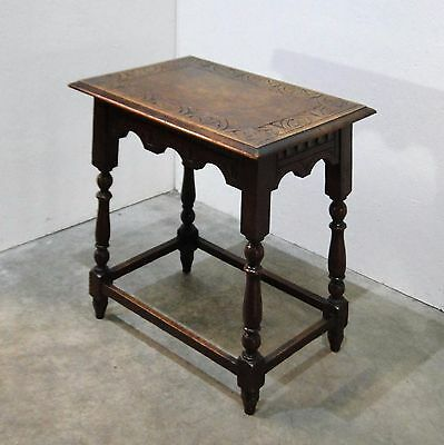 Attractive Antique Carved Oak Occasional Table (0568M)