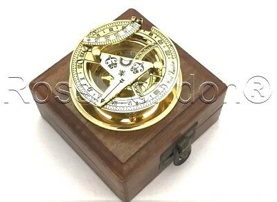Solid Brass Sundial Compass -  West London Pocket Sundial With wooden Box