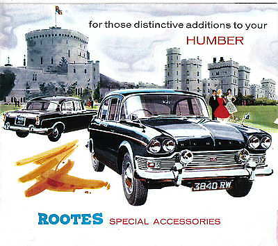 Humber Original Rootes Special Accessories Folder No. 63103 circa 1963