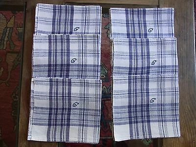 LOT06 6 ANCIENS MOUCHOIRS METIS monogr G / 6 Old metis embroidered handkerchiefs