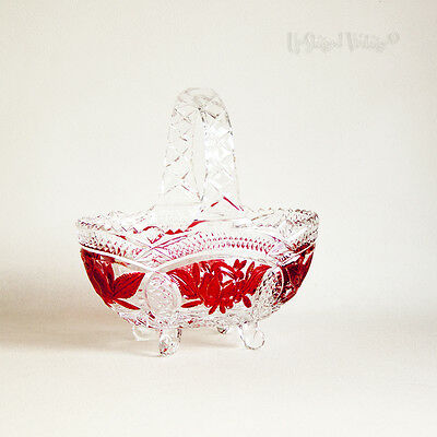 Vintage Bohemian Crystal Cut Glass Basket Red Stained Rose Design - FREE UK P&P