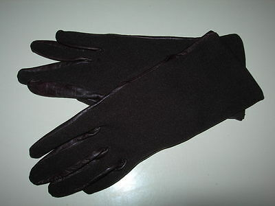 Womens Vintage Pinkham Gloves,Dark Brown Soft Real Leather+Stretch Fabric size 7
