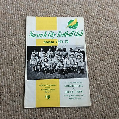 Norwich City v Hull City FA Cup 3rd round 1971/72 Football Programme