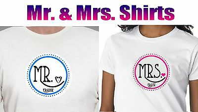 d8f7c532 2 Personalized Mr And Mrs Honeymoon T Shirt. 2 Custom Couple Wedding Shirts
