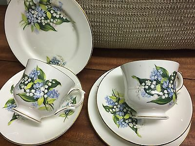Royal Sutherland China 2 Trio  -  H&M Good COMDITION Green Leaf  Seeinside
