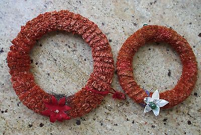 Vintage Antique Christmas Wreath Pair Red Chenille Poinsettia Star Décor Crafts