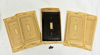 Art Deco Switch Plates Bruce Brown Bakelite Single Gang Toggle Lot of 5--NOS!