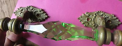 ORIGINAL Engraved brass Victorian furniture fixture Cut Glass Door HANDLE GREEN