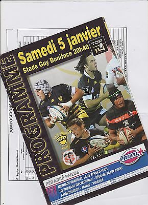 Collection Rugby Programme Stade Montois - Stade Toulousain 05/01/2013 Top 14