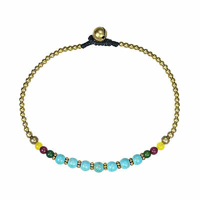 Tribal Round Turquiose Stone Brass Beads Link Charm Anklet