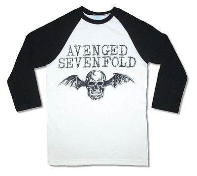 Avenged Sevenfold Sketched Death Bat White Jersey Raglan Shirt New Official A7X
