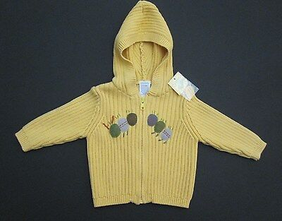 Gymboree Yellow Caterpillar Full Zip Sweater Hooded Size 3-6 Months NWT