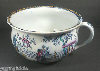 Antique Caughley Chinoiserie Chamber Pot Transfer Polychrome 1775-1814 England