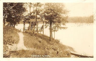 Forest Lake Minnesota~People in Rustic Gazebo along Forest Lake~1940s RPPC
