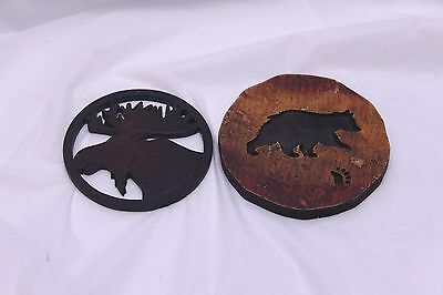 Wood Handcraft Coasters Moose Bear Canadian Souvenir