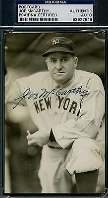 Joe Mccarthy Psa/dna Hand Signed Postcard Authentic Autograph