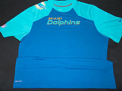 Miami Dolphins Game Used Nike On Field Warm Up Dri-Fit Player Shirt *huge Sale*