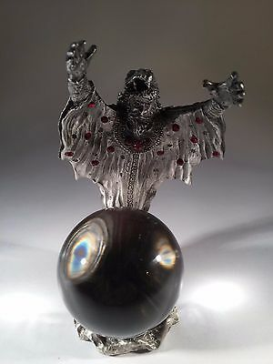 Pewter Wizard Figurine with Crystal Ball