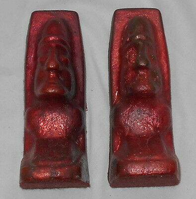 Vintage Copper Ingot Indian Bookends WHITE PINE MINE Mi UP Orig RED Paint NICE