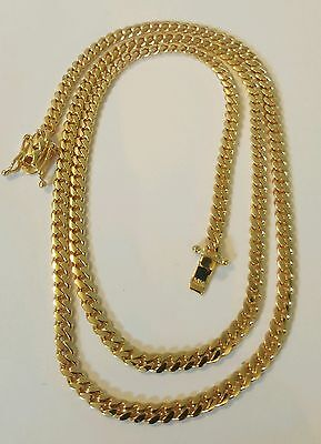 """Handmade 14K Solid Gold Miami Cuban Link Chain, 24"""" 4.10 MM 30 Grams"""