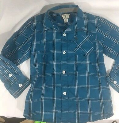 Volcom Youth Boys  Plaid Button Up Shirt Blue Long Sleeve Large