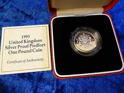 Royal Mint Silver Proof PIEDFORT £1 One Pound 1993 Royal Arms + Case & COA