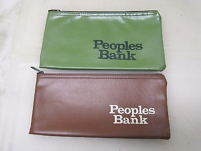 (2) Vintage Zippered Bank Money Deposit Bags Peoples Bank A5656