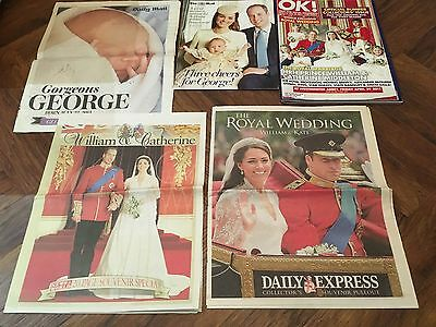 Prince William and Kate Wedding and Baby George magazines / papers