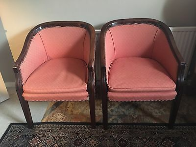 Pair Of Edwardian Tub Chairs.