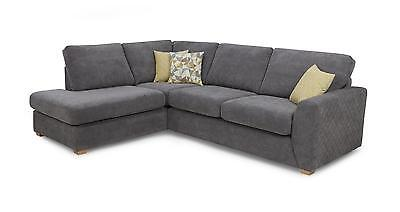 DFS Astaire Graphite Grey Fabric Corner sofa,Swivel Chair x 2 Footstools
