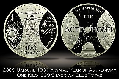 2009 Ukraine 100 Hyrvnias Year of Astronomy One Kilo .999 Silver w/ Blue Topaz