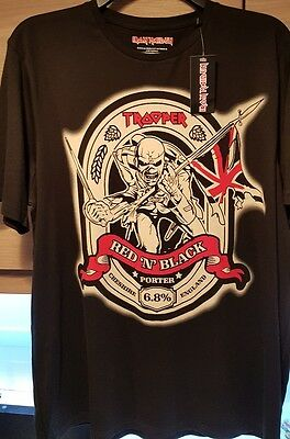 Iron Maiden  Red And Black Trooper Beer T Shirt