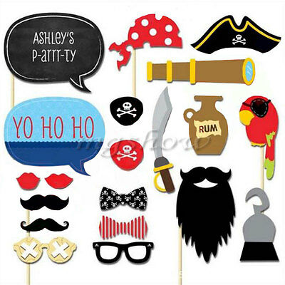 20pcs Birthday Wedding Photo Booth Props Fun Pirates of the Caribbean Theme