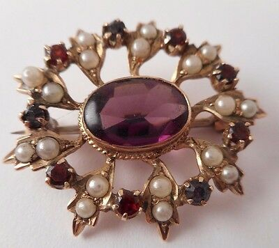 Vtg 10K Solid Yellow Gold Seed Pearl Amethyst Brooch Pin Victorian 3.3 Grams