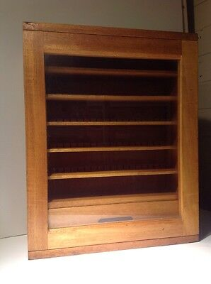 Vintage oak Collectors Cabinet. Mid 20th Century.Glass Fronted Dove Tailed